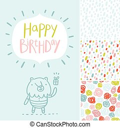 Birthday party card and patterns set