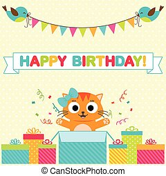 Birthday party card - Vector birthday party card with funny...
