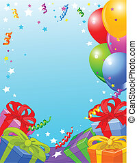 Birthday party card - Party vertical background with gifts...