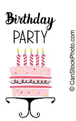 Birthday Party card with cake