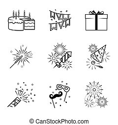 Birthday party celebration fireworks icons set