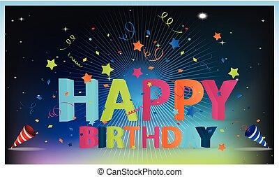 birthday party celebration on rainbow background