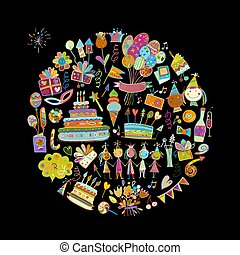 Birthday party, circle frame for your design