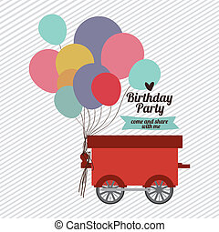 Birthday party design over white background,vector...