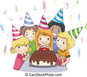 Birthday Party - Illustration of a Birthday Celebrant About...