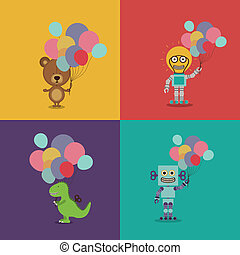 Birthday party design over colorful background,vector...