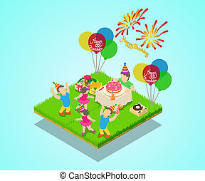 Birthday party concept banner, isometric style