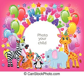 Birthday party cute animal pink frame your baby photo