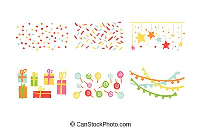 Birthday party decoration symbols set, carnival festive design elements with colorful lollipops, flags, confetti, gifts vector Illustration on a white background