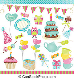 Birthday party elements - Scalable vectorial image...