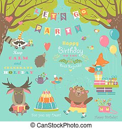Birthday party elements with cute animals