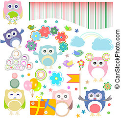Birthday party elements with funny owls. Vector set