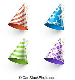Birthday party funny hats vector photo booth templates
