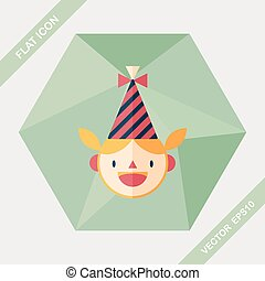 Birthday party girl flat icon with long shadow,eps10
