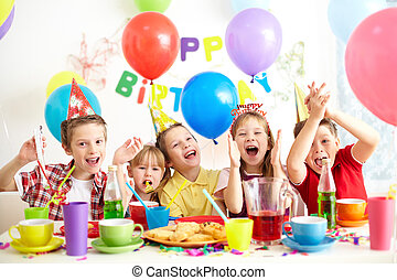 Birthday party - Group of adorable kids having fun at ...
