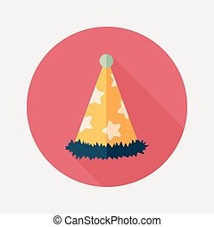 birthday party hat flat icon with long shadow, eps10