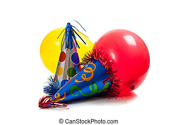 birthday party hats and balloons on a white back ground -...