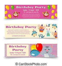 Birthday party horizontal banners template with cute cartoon animals