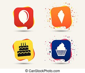 Birthday party icons. Cake with ice cream symbol.