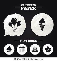 Birthday party icons. Cake with ice cream symbol