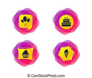 Birthday party icons. Cake with ice cream symbol. Vector