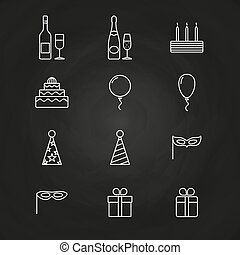 Birthday party icons on chalkboard