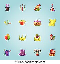 Birthday party icons set, cartoon style