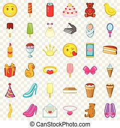 Birthday party icons set, cartoon style