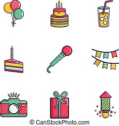 Birthday party icons set, flat style