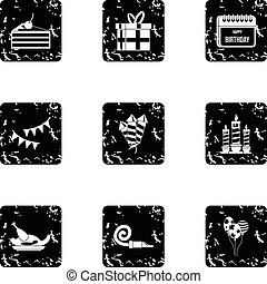 Birthday party icons set, grunge style