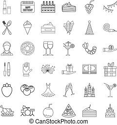 Birthday party icons set, outline style