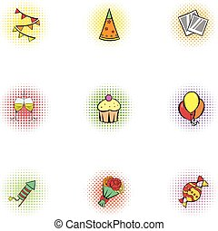 Birthday party icons set, pop-art style