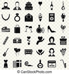 Birthday party icons set, simple style