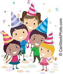 Birthday Party - Illustration of Kids in a Birthday Party...