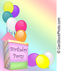 Image and illustration composition, birthday gift bag, card and balloons on rainbow background for party invitation or announcement with copy space