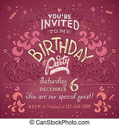 Birthday party invitation - Vintage birthday party...