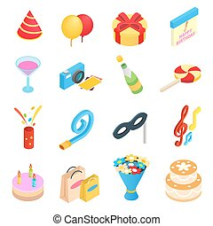 Birthday party isometric icons