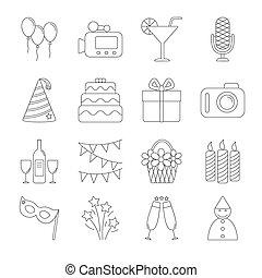 Birthday party line icons
