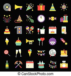Birthday party, party related icon set, flat design on grid ...
