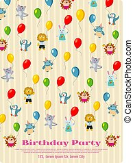 Birthday party poster design - cartoon animals fly with balloons