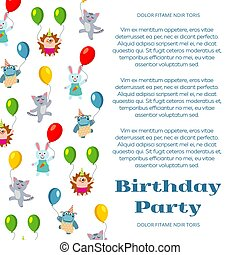 Birthday party poster or invitation with cute cartoon animals and flight balloon