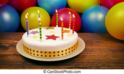 Birthday Party Scene With Cake And Balloons