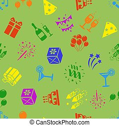 Birthday party seamless pattern, balloons, gifts, confetti,...