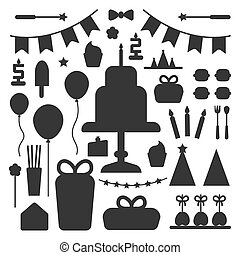 Birthday party set icons or elements