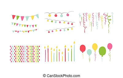 Birthday party symbols set, colorful carnival festive design elements with colorful balloons, flags, decorative ribbons vector Illustration on a white background