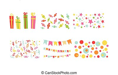 Birthday party symbols set, colorful carnival festive design elements with flags, confetti, sweets, gifts vector Illustration on a white background