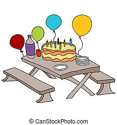 Birthday Party Table - An image of a birthday party table.