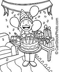 Birthday Party Time - boy celebrating his birthday.