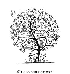 Birthday party tree, coloring set for your design