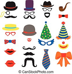 Birthday party vector photo booth props - Glasses, hats,...